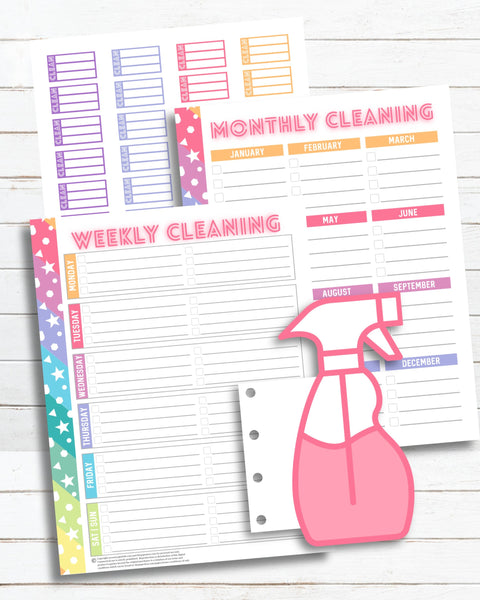 printable cleaning schedule planner