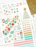 printable christmas planner stickers advent vintage pink