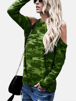 Camouflage Round Neck Cold Shoulder Long Sleeves T-shirt