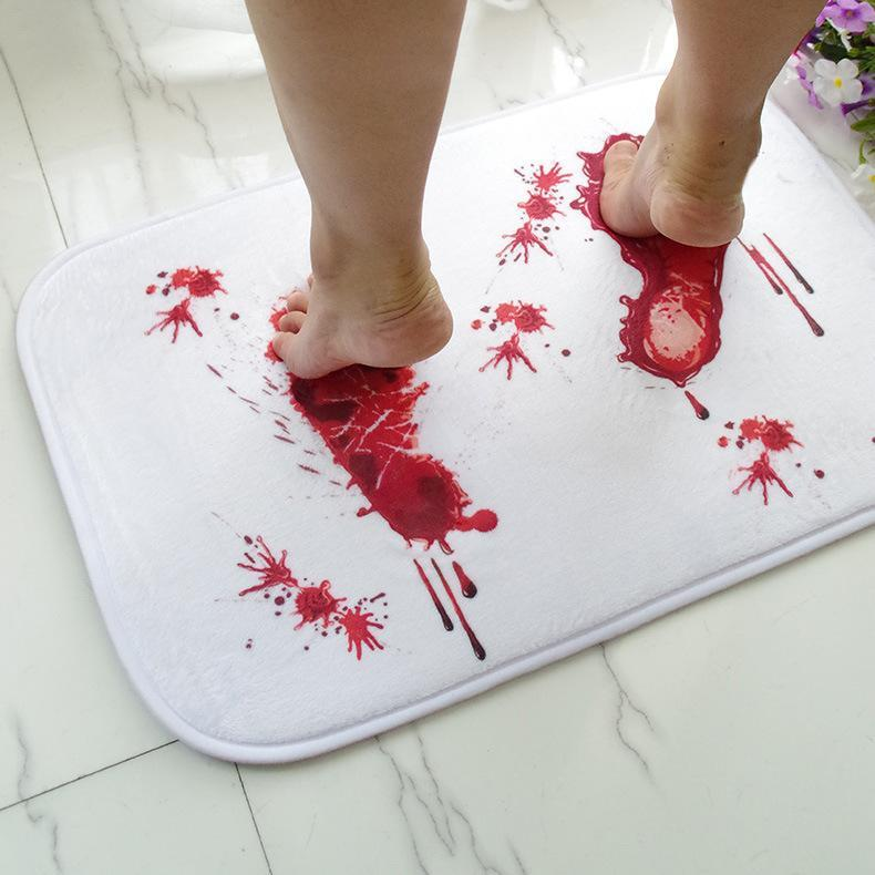 Blood Footprint Pattern Rug Window Bedroom Living room Door Bathroom Anti-slip Floor Mat Carpet