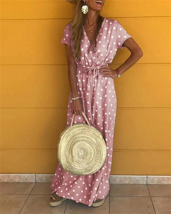 cheap exquisite style good texture Polka Dots Bohemian Holiday Dresses Shift Daytime Maxi Dresses