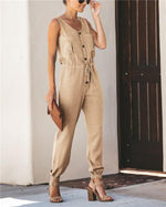 Sleeveless Solid Chiffion Casual Loose V Neck Daily Jumpsuits