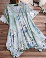 Summer V Neck Casual Floral Printed Short Sleeve Blouse