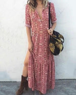 Pink Women Daily Long Sleeve Printed Floral Fall Summer Maxi Dresses