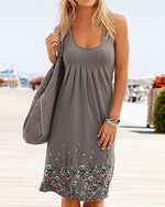 Women Casual Short Sleeve A-line Painted Plus Size Dress