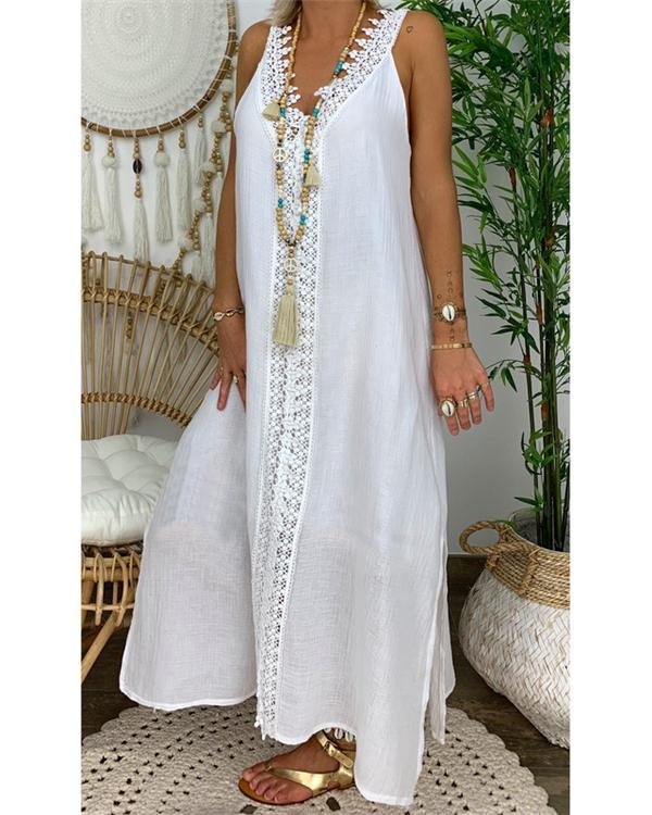 Women Solid V Neck Sling Sleeveless Lace Maxi Dress