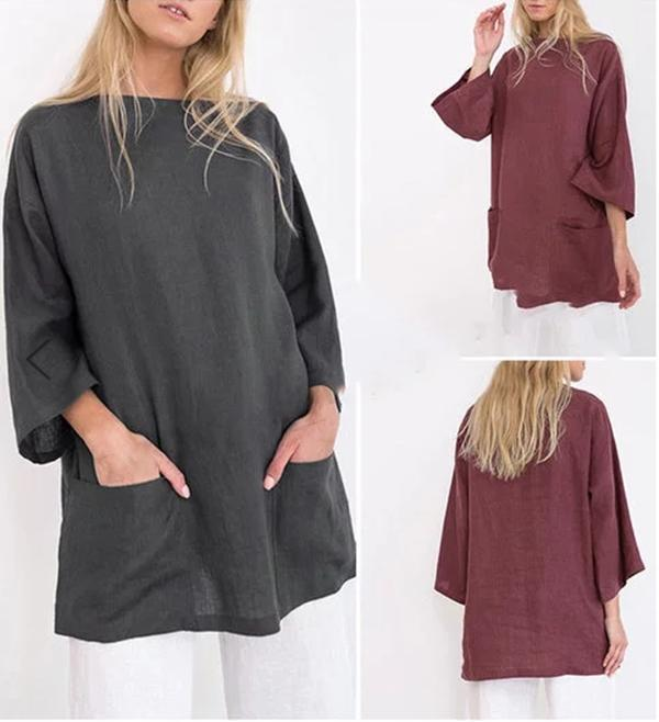 Casual Linen Round Neck Plus Size Blouses Tops