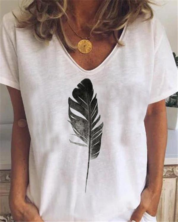 Plus Size Feather  Loose Casual Summer Women Holiday Blouse