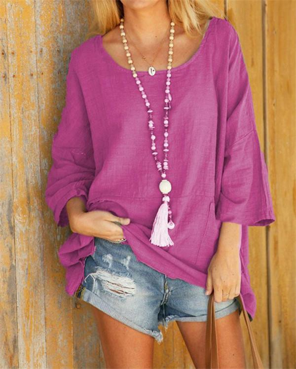 Summer Solid Women 3/4 Sleeve Casual Crew Neck Holiday Tops