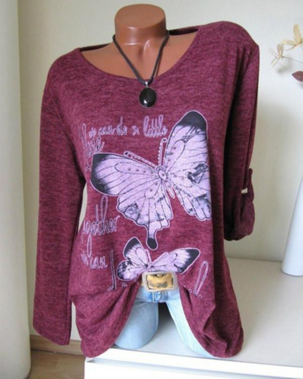 Animal Casual Round Neckline Long Sleeve T-shirts Tops