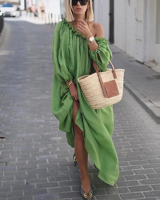 One Shoulder Summer Street Elegant Women Fashion Maxi Dresses