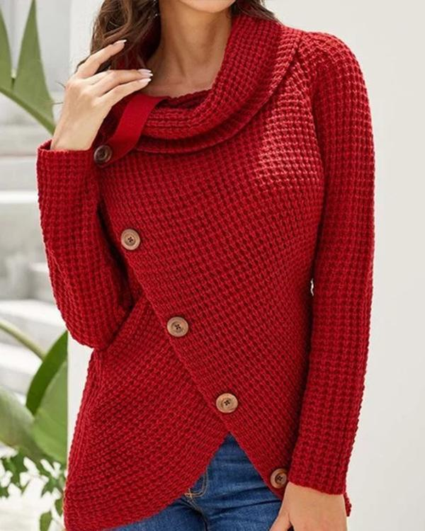 Asymmetric Button Turtleneck Knitted Sweater Tops