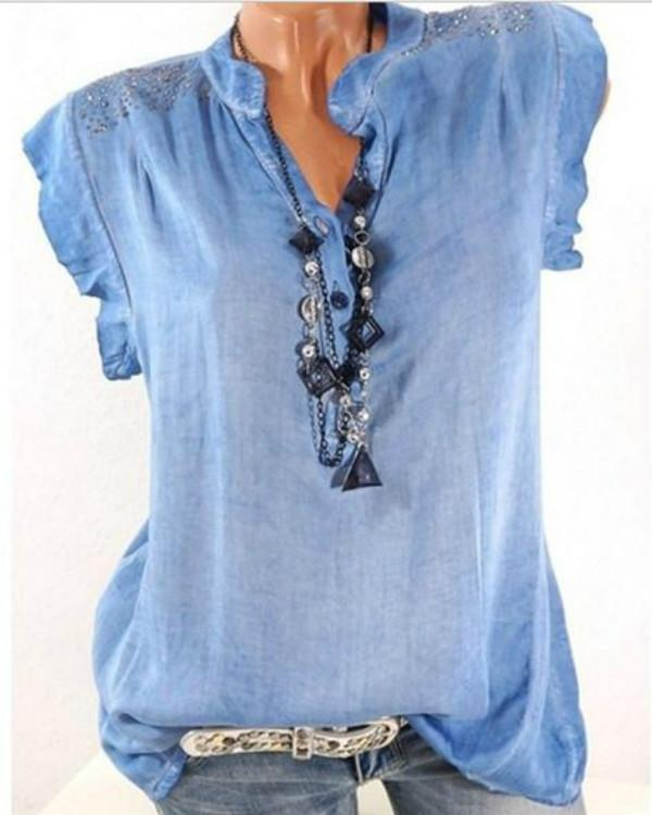 Plus Size Sleeveless Tops Crystal Casual  Blouse