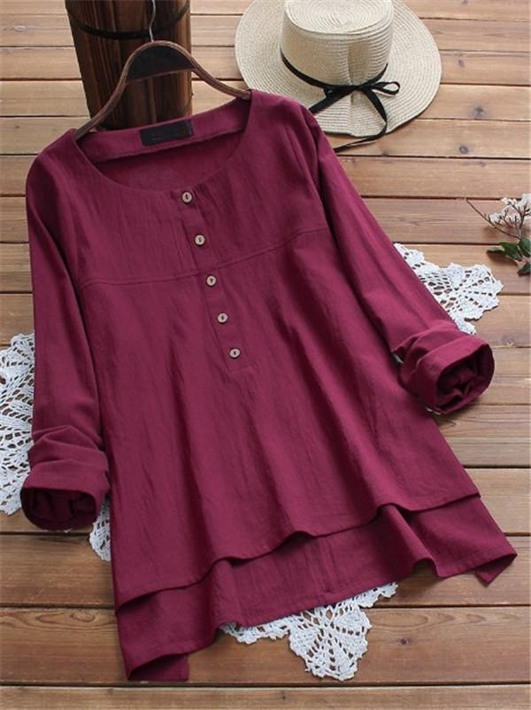 Women Casual Tops Solid Color Loose Plus Size  Blouse
