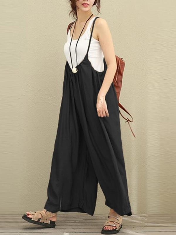 Vintage Strap Pure Color Plus Size Jumpsuits