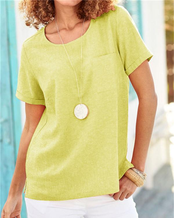 Fresh Summer Color Simple Cotton Round Neck Short Sleeve Blouse