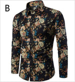 Men's Plus Size Long Sleeve Boho Floral Linen Slim Shirts