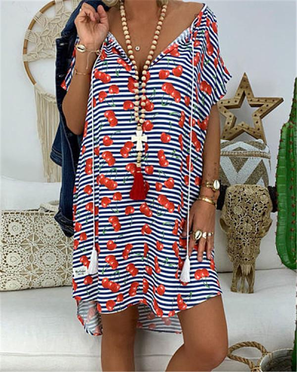 Boho Printed V Neck Summer Printed Holiday Chic Mini Dresses