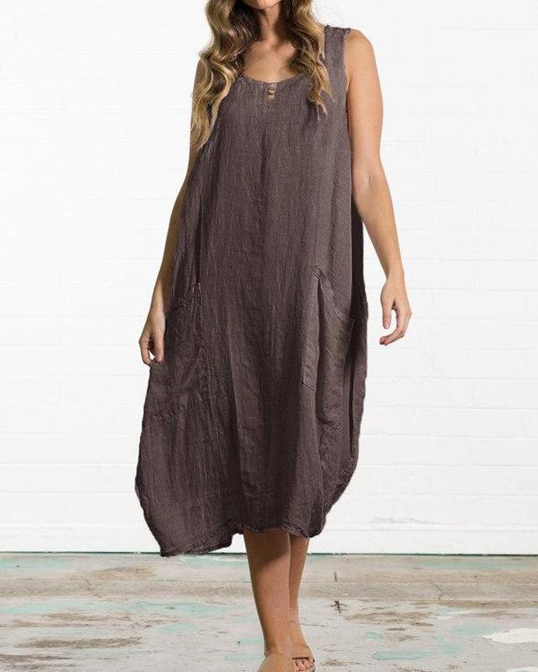 Plus Size Loose Cotton & Linen Sleeveless Solid Color Pocket Dress