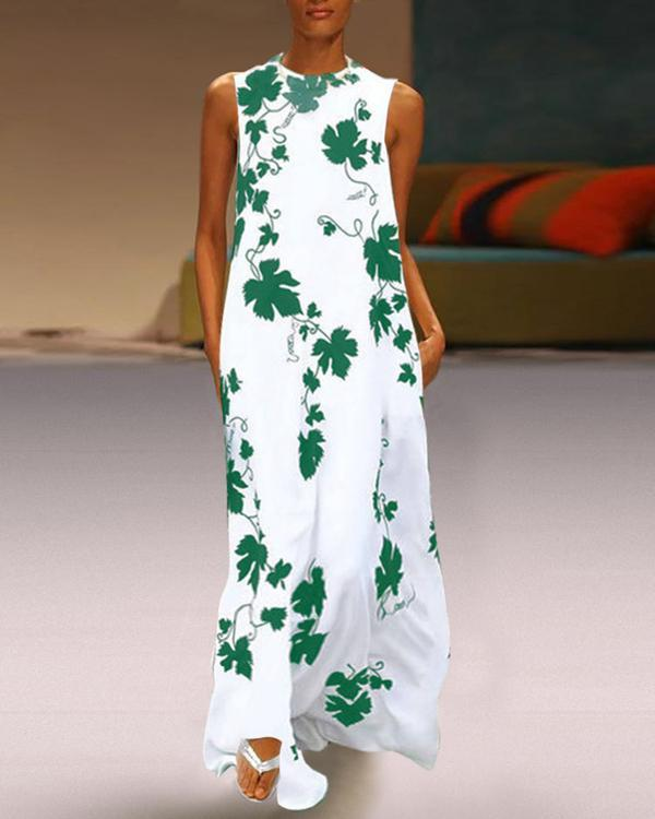 Round Neck Maple Leaf Printed Sleeveless Maxi Dress