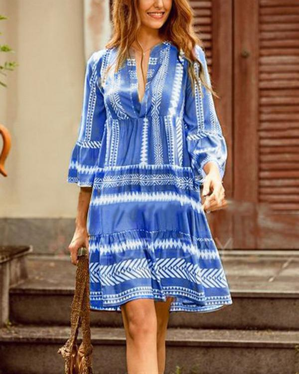 Bohemian Printed Vacation Long Sleeve Plus Size Dresses