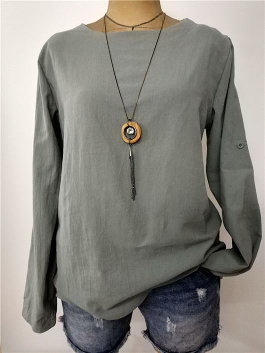 Plus size Simple Style Solid Color Long Sleeve Blouse Tops