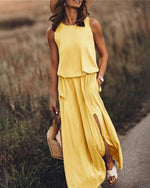 Solid Sleeveless Round Neck Holiday Daily Fashion Maxi Dresses