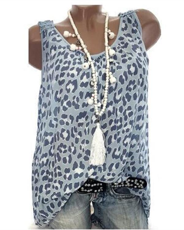 Women Leopard Printed Round Neck Sleeveless Plus Size Tank Tops