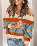 Orange Color Block One-shoulder Long Sleeve Oversize Pullover Sweater