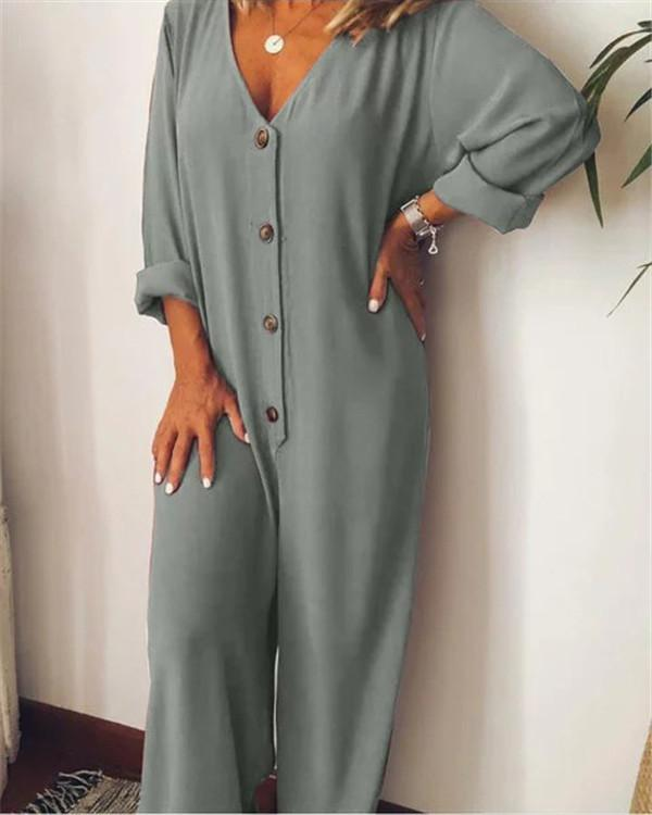 Casual V Neck Solid Plus Size Jumpsuit
