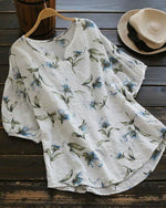 V neck Short Sleeve Casual Floral Plus Size T-Shirt