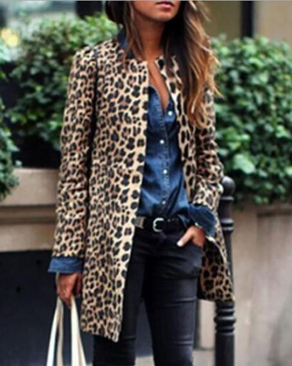 Women Leopard Sexy Winter Warm New Wind Coat Cardigan Leopard Print Fashion Casual Long Coat
