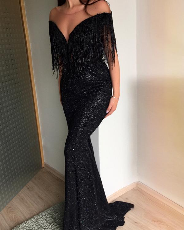 Black Sexy V-Neck Sleeveless Slim Evening Dresses