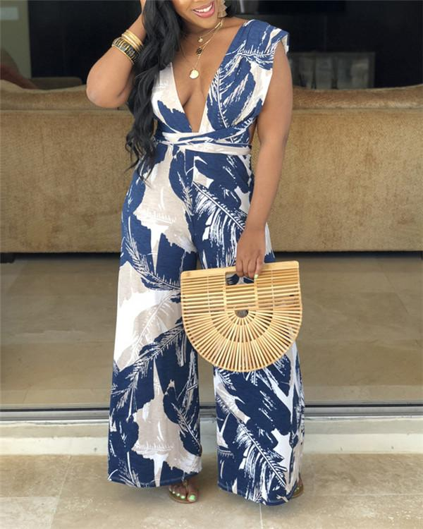 Sleeveless Women V Neck Plus Size Jumpsuits