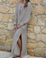 Women Vintage Loose Solid V Neck Slit Cotton Linen Dress