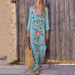 V-Neck Bohemian Printed Long Sleeve Maxi Dress