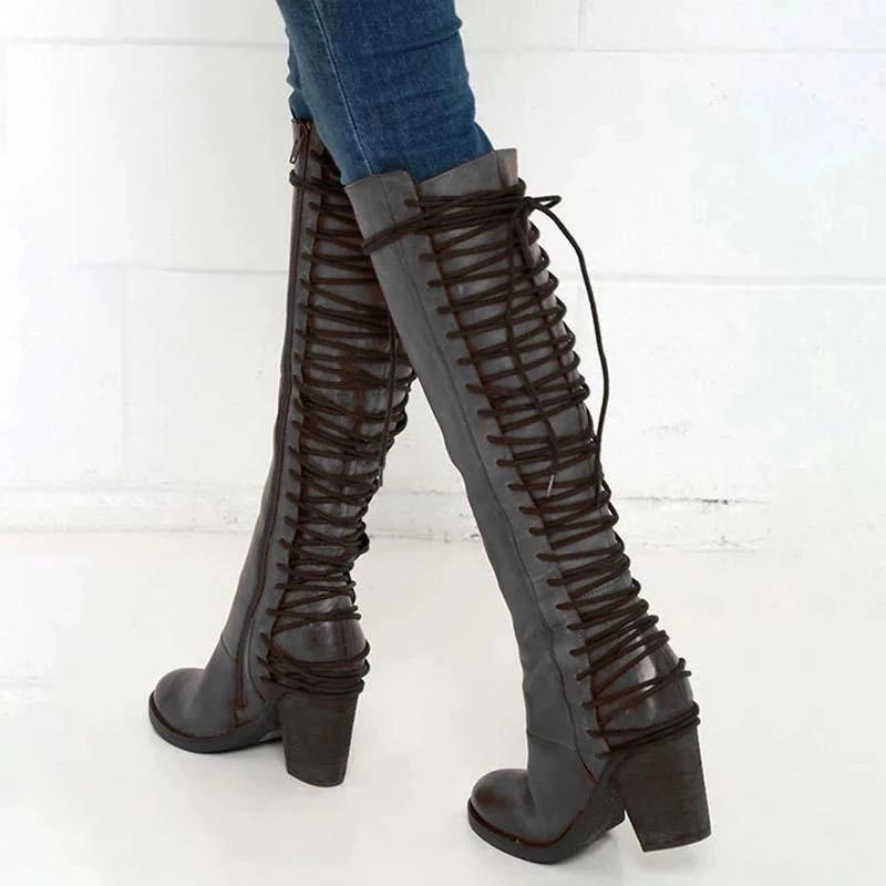 Vintage Chunky Heel Back Lace-Up Knee High Boots