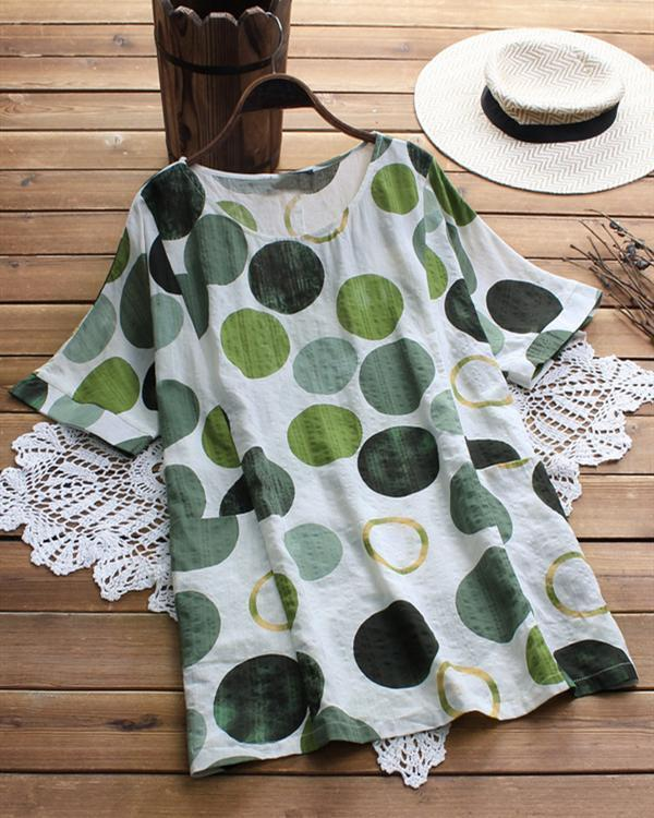 Casual Polka Dot Short Sleeve Plus Size Blouses Tops