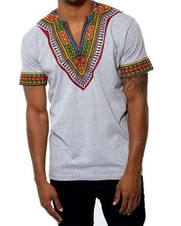 African Ethnic Style 3D Printed V-neck Casual Summer T Shirts
