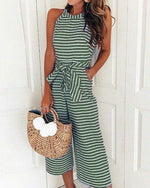 Striped Vacation Casual Jumpsuit