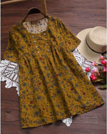 Plus Size Short Sleeve Vintage Floral Printed Blouses Tops