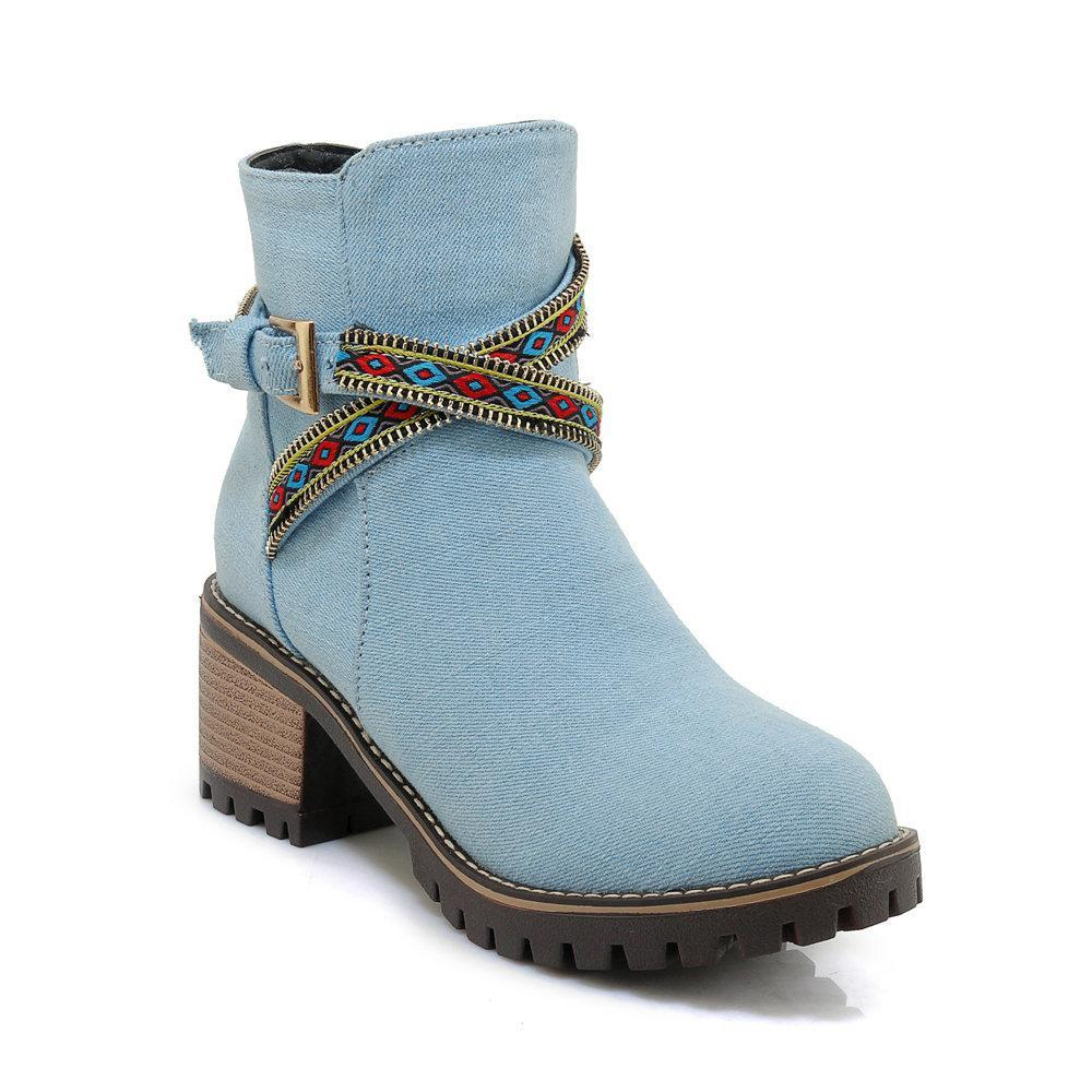 Folkways Band Chunky Heel Canvas Warm Lining Ankle Casual Boots
