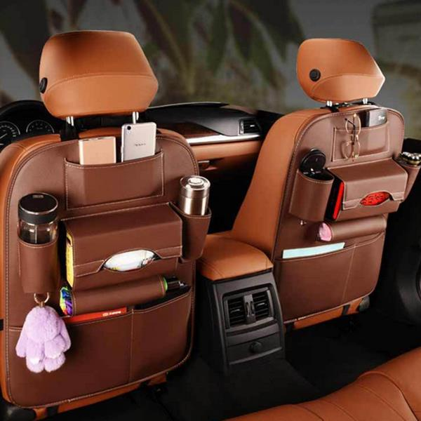 5 Styles Leather Car Storage Bag Multi-compartment Car Seat Storage Container Outdoors Hanging Bag