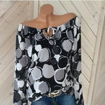 Plus Size Off Shoulder Polka Dots Casual Bat Sleeve Blouse