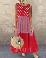 Casual Polka Dot Print Sleeveless Plus Size Dress