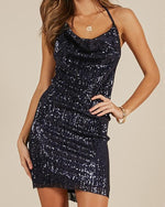 Women Sequined Sleeveless Crew Neck Lace-Up  Party Dress