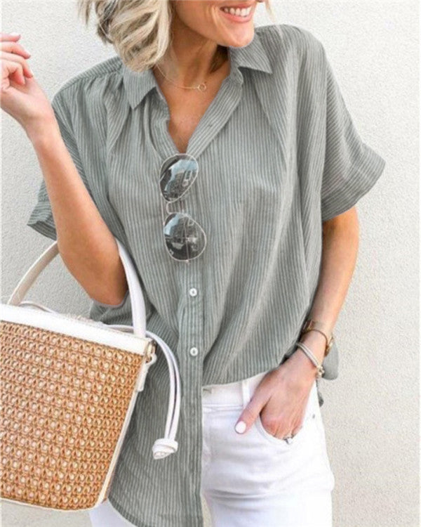 Women Striped Stand Collar Solid Shirts Tops