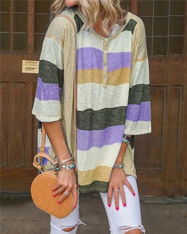 3/4 Sleeve Stripe Stylish  Holiday Summer Women Shirt Tops
