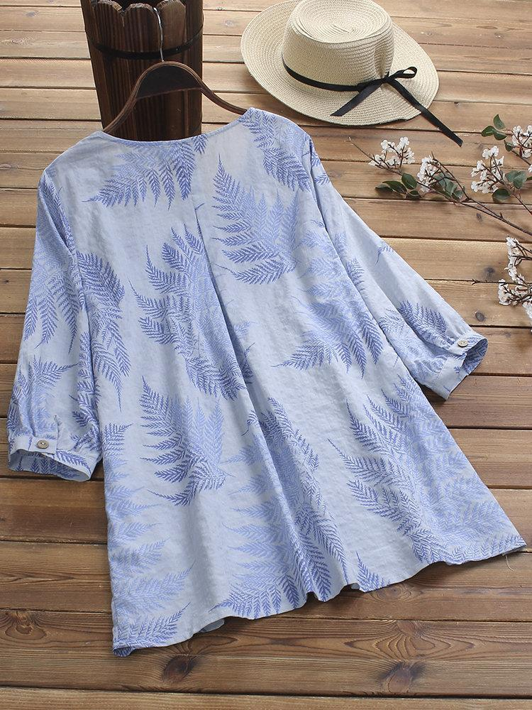 Vintage Pleated Print Leaves Crew Neck Half Sleeve Plus Size Blouse