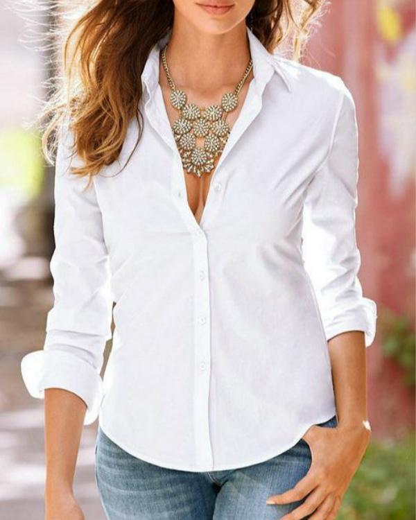 Women Lapel Collar Long Sleeves Shirts